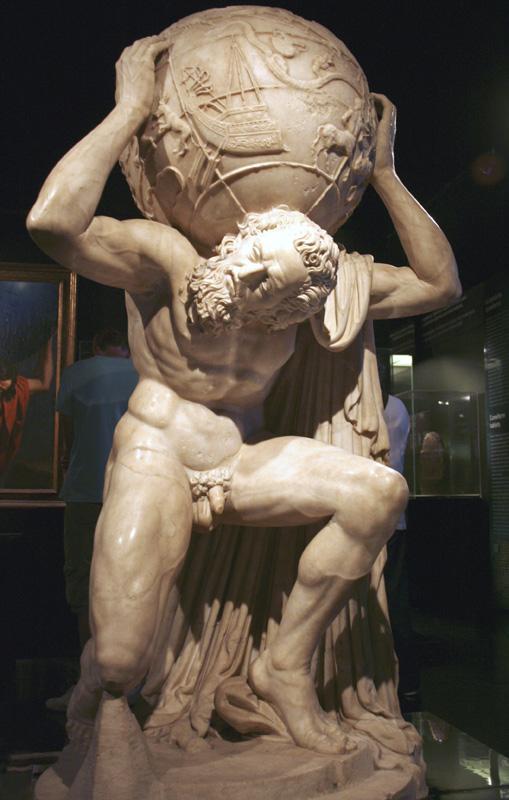 Atlante farnese, anonimo, II sec., marmo bianco, 164 cm, Firenze, Palazzo Strozzi 001