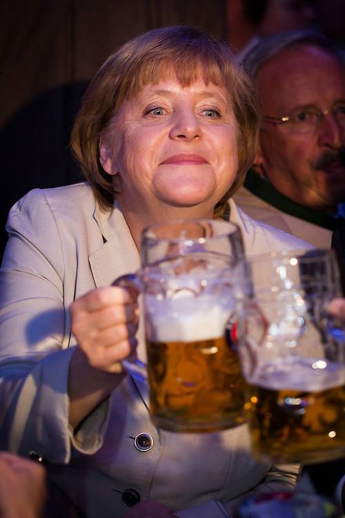 Angela Merkel has a beer