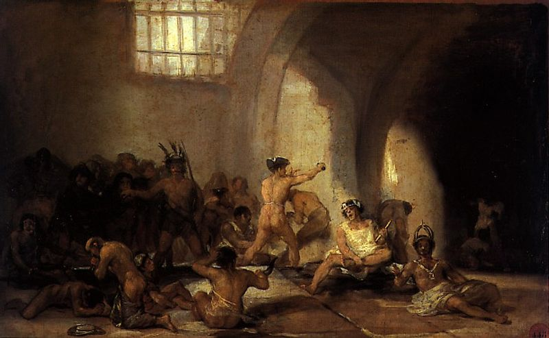 Goya Francisco. (1746-1828). Plaga del Hospital. Casa de locos