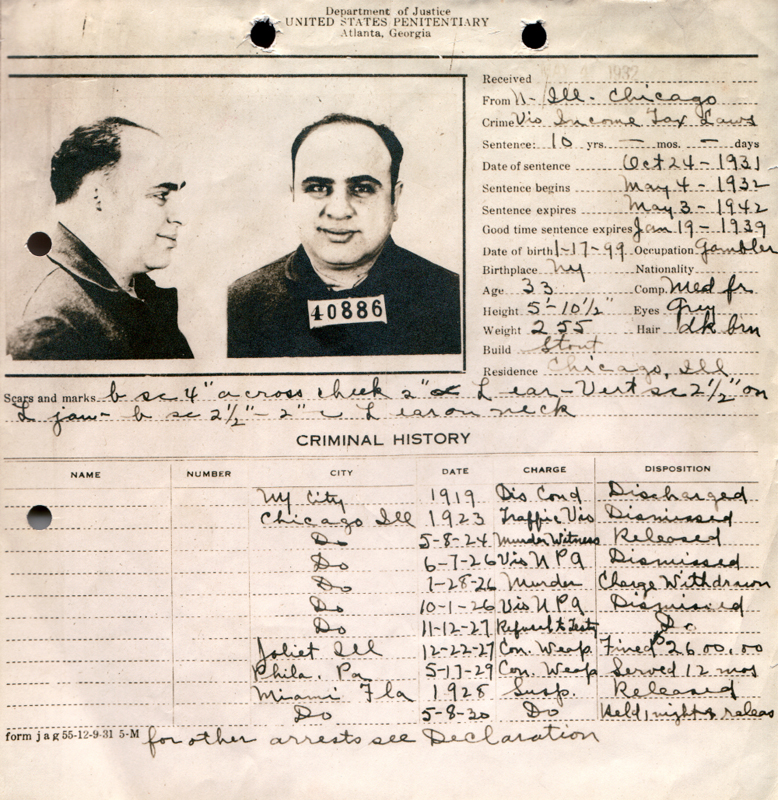 Al Capone . Scheda Segnaletica.