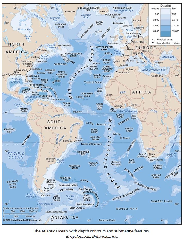 Atlantico. Oceano. Profondità