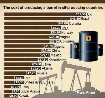 Petrolio. Costo per produttore. 001