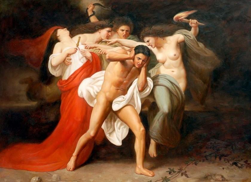 Bouguereau William-Adolphe. Oreste perseguitato dalle Erinni. 1862