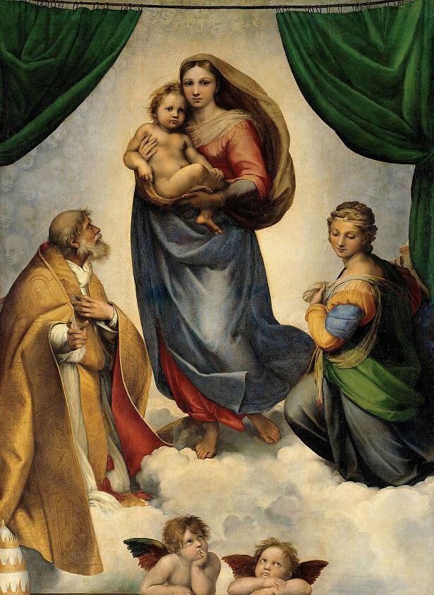 Raffaello Sanzio. 1513 - 1514. Madonna Sistina. Gemäldegalerie. Dresden__600x600