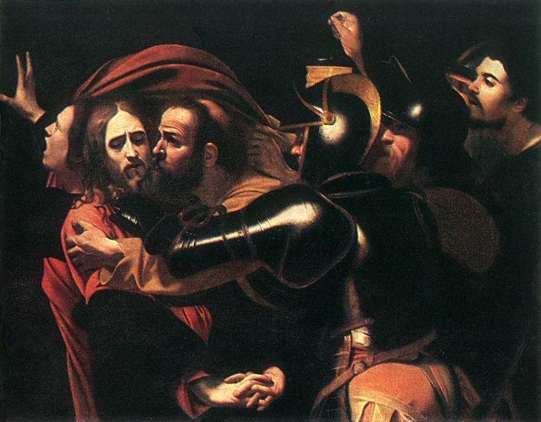 Michelangelo Merisi da Caravaggio (1573–1610). Die Festnahme Christi (1598) - Il bacio di Giuda. Odessa Museum of Western and Eastern Art.