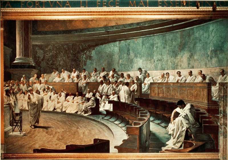 Cicerone denuncia Catilina in Senato