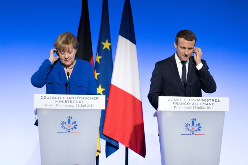 France's President Emmanuel Macron Hosts Joint Cabinet Meeting With Germany's Chancellor Angela Merkel