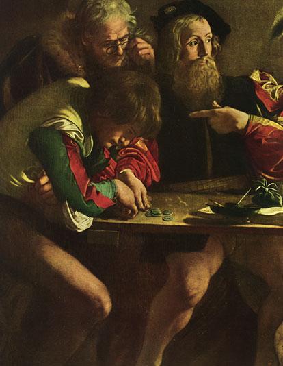 Caravaggio. Conversione di San Matteo. Particolare