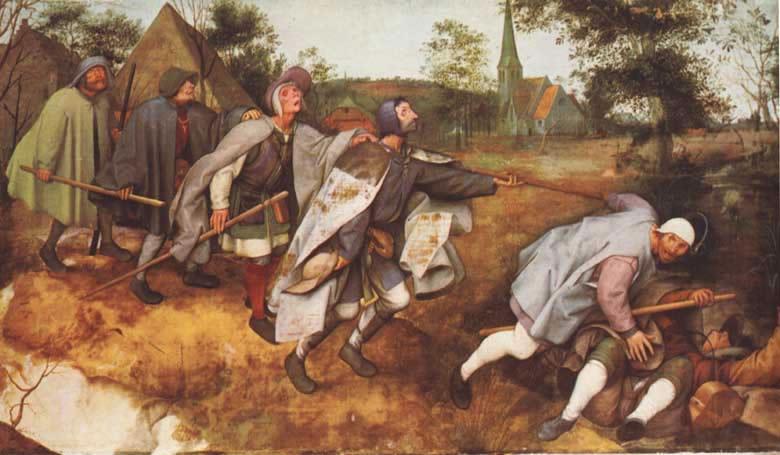 Mendicanti 012 Pietr Brueghel. Ciechi che guidano ciechi. Louvre