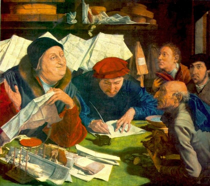 Banche 016. Marinus Van Reymerswaele, Prestatori di denaro, 1542.