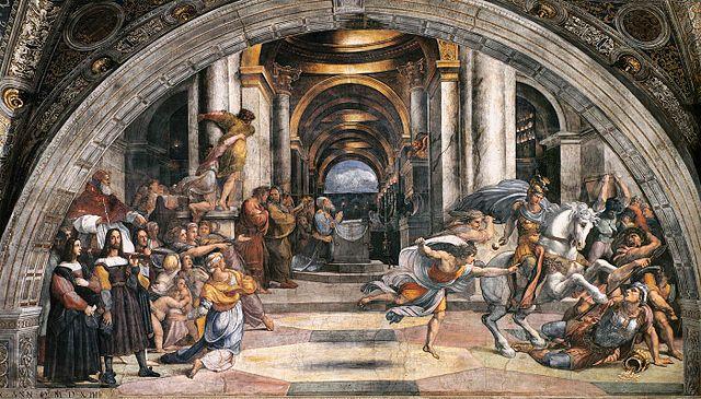 Cacciata. Raffaello Sanzio. La cacciata di Eliodoro dal Tempio. 002