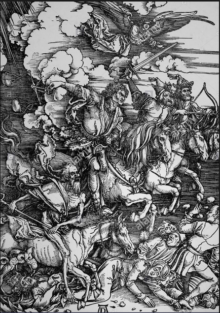 Durer Albrecht. Quattro cavallieri dell'Apocalisse. 1498.