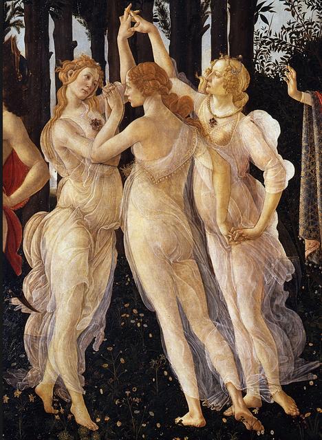 Botticelli. Le Tre Grazie. Particolare.