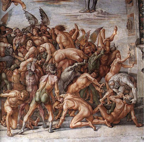 Signorelli Luca (1445-1523). Dannati all'inferno (1499-1502), dettaglio 2, Cappella di San Brizio, Duomo di Orvieto