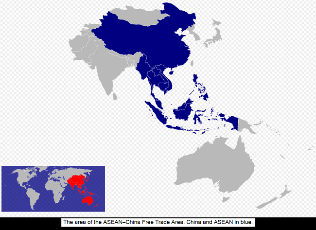 ASEAN–China Free Trade Area. China and ASEAN in blue 001
